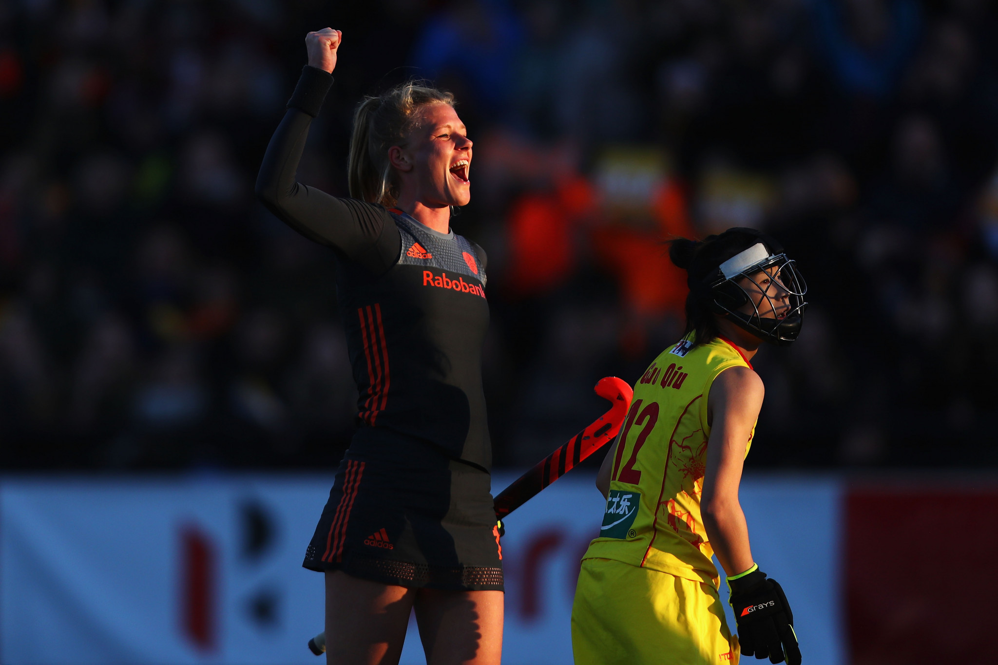 Caia van Maasakker celebrates scoring one of her three goals against China ©Getty Images