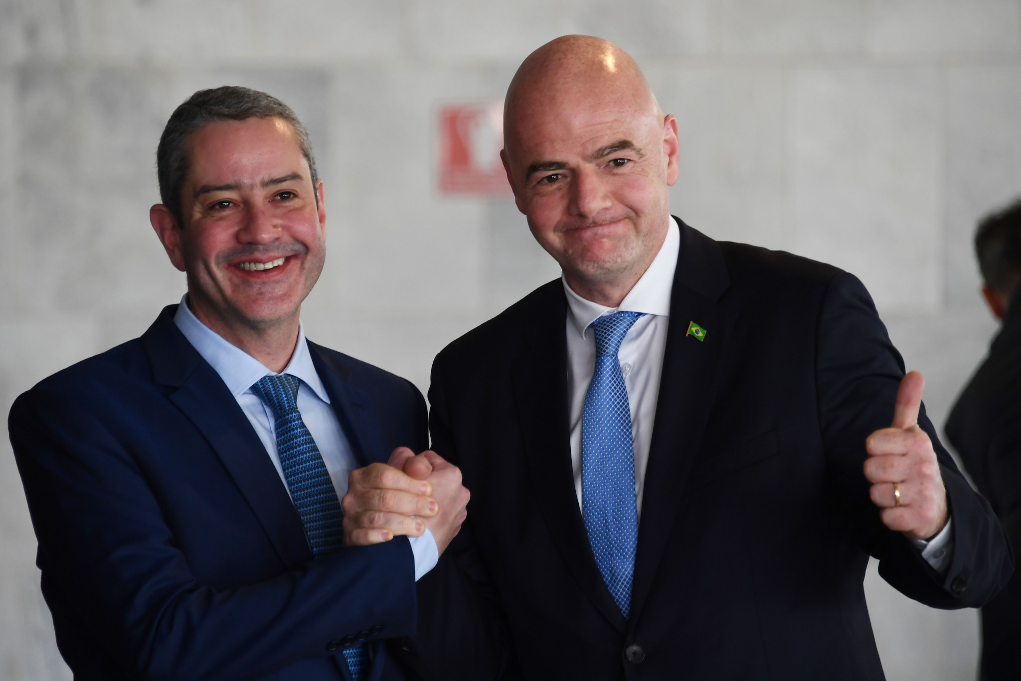 FIFA President Gianni Infantino, right, was present at the inauguration of Rogério Caboclo, left, as CBF head ©Getty Images