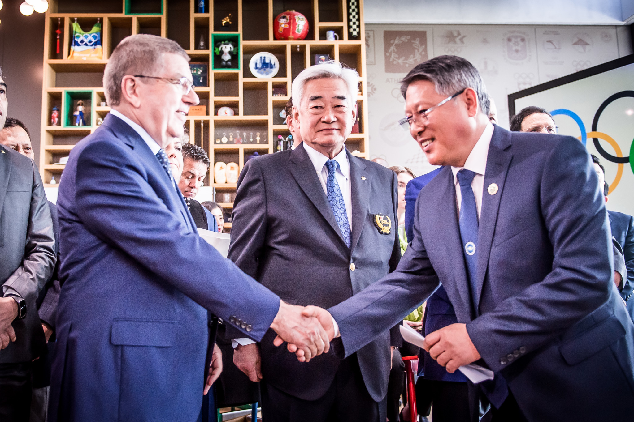 IOC President Thomas Bach, WT President Choue Chung-won and ITF President Ri Yong-son were present at the joint demonstration ©World Taekwondo