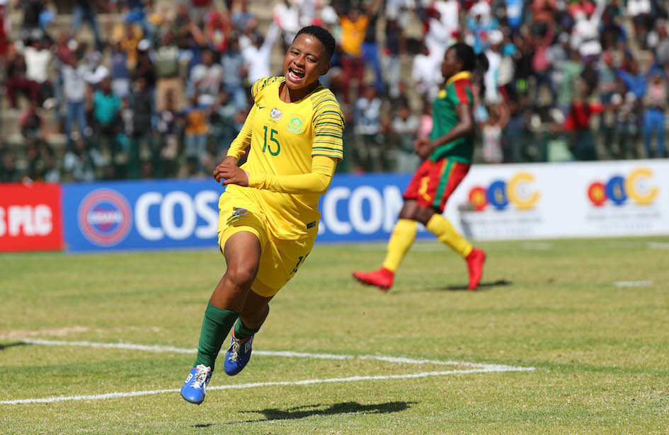 Ilhaam Groenewald heaped praise on former student footballer Refiloe Jane, who recently achieved the feat of representing the senior South African national team 100 times ©FISU
