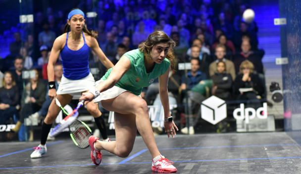 Egypt's world champion Nour El Sherbini, right, en route to a second-round victory in the DPD Open in Eindhoven against eight-times world champion Nicol David of Malaysia ©PSA