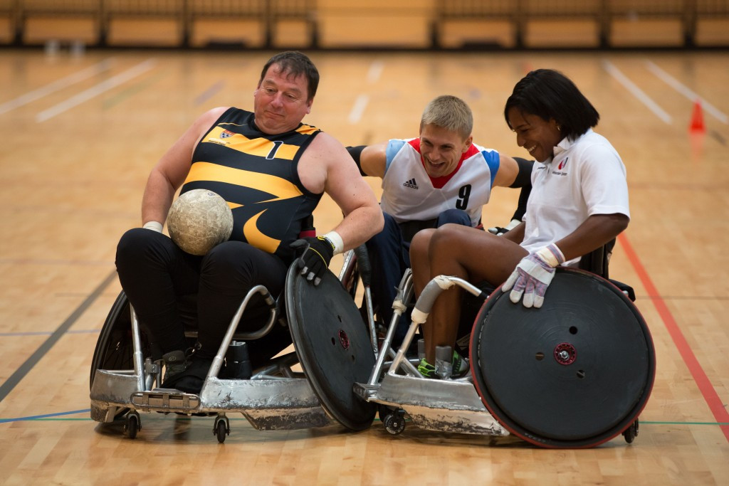 London 2012 Paralympian and international stars take part in special wheelchair rugby training session
