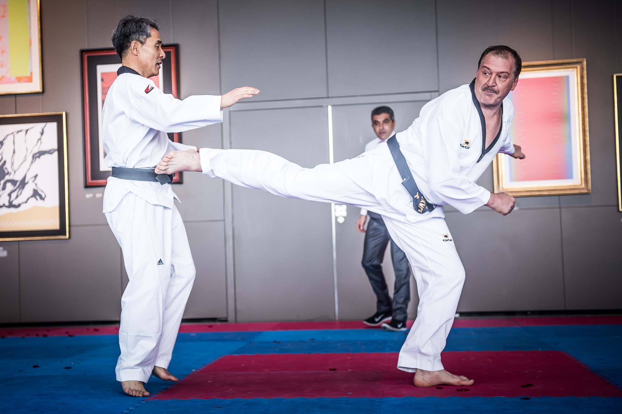 WT Council Members Kuk Hyun Jung of South Korea and Metin Sahin of Turkey repeated the final of the 1985 WT World Championships ©World Taekwondo