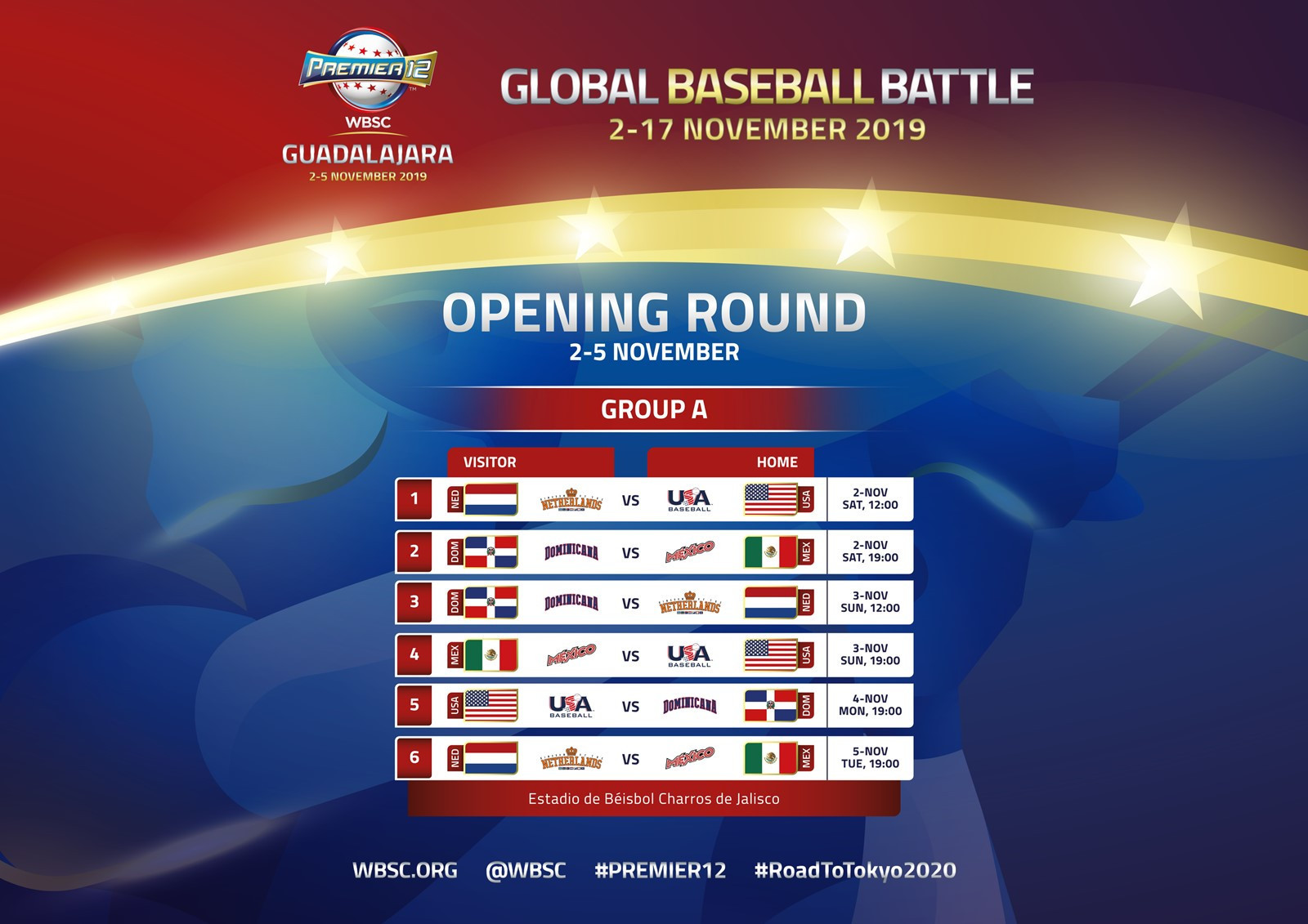 WBSC announce Group A and B schedules for WBSC Premier12