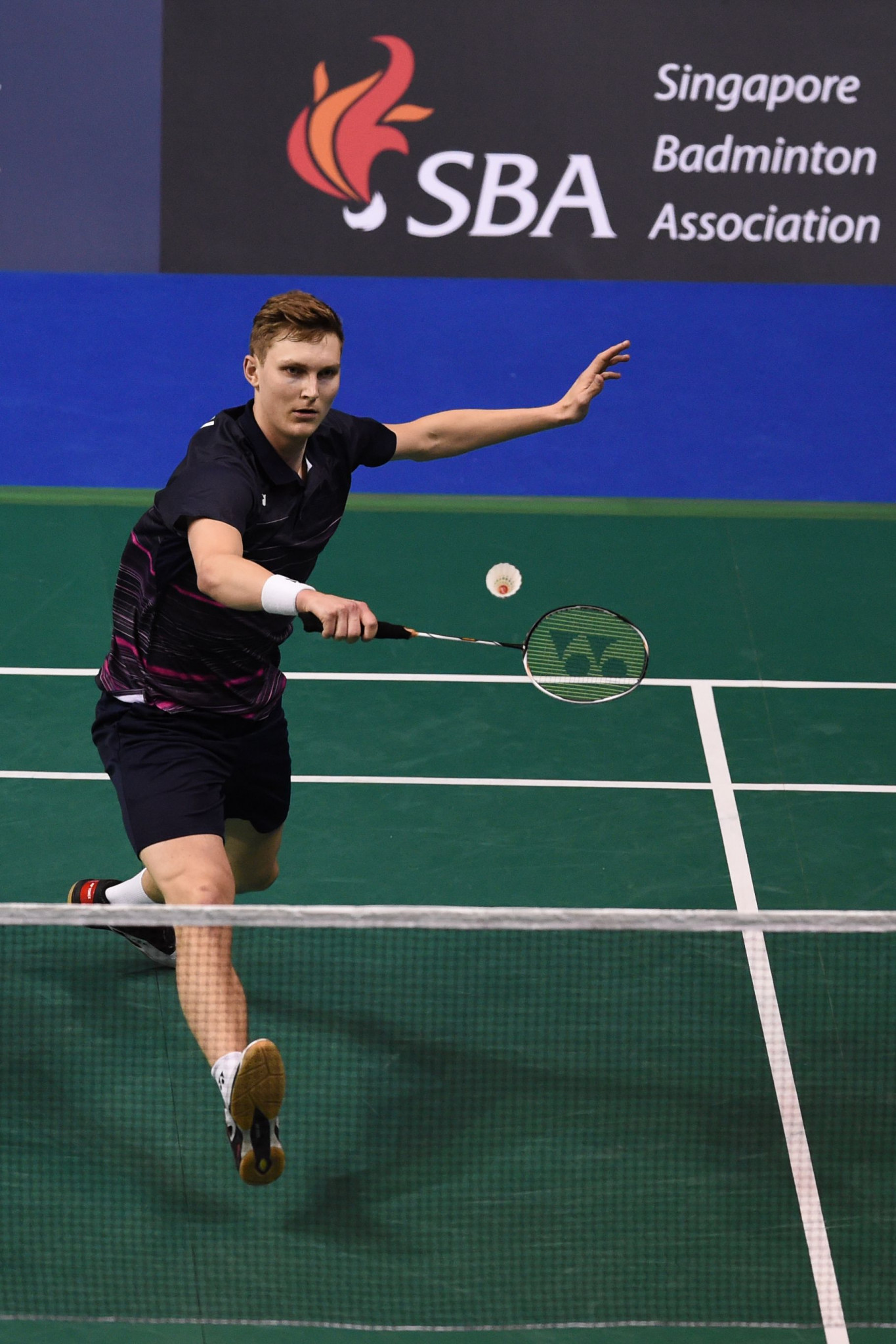 Denmark's Viktor Axelsen pictured during his monumental quarter-final match today at the BWF Singapore Open ©Getty Images
