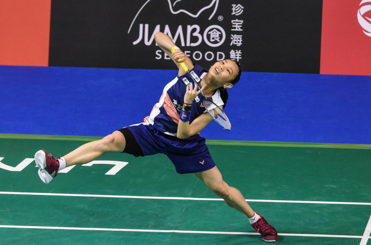 Chinese Taipei's world number one Tai Tzu-ying pictured during her testing quarter-final win at the BWF Singapore Open today ©Getty Images