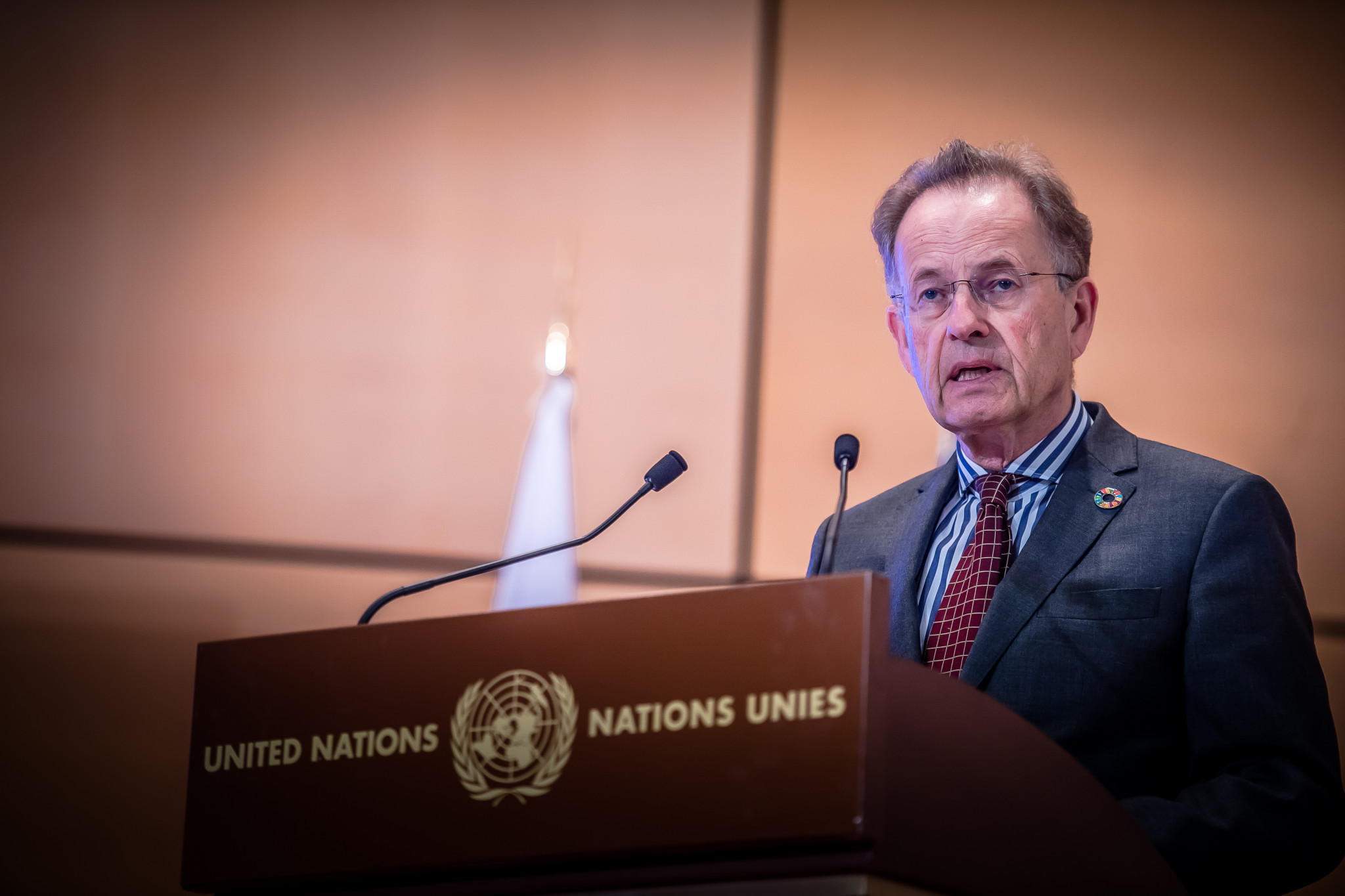 United Nations Geneva director general Michael Moller gave a welcoming speech at the joint demonstration at the United Nations Office at Geneva ©World Taekwondo