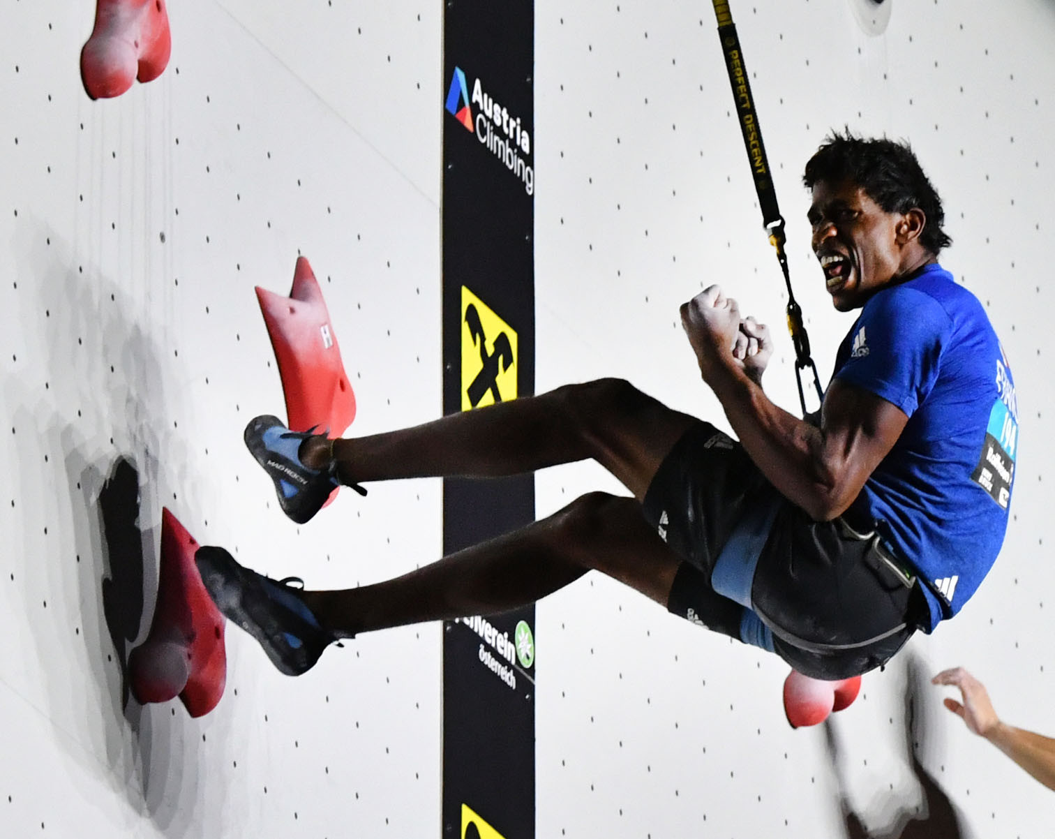 France's Bassa Mawem won the men's speed final at the  IFSC Climbing World Cup in Moscow ©Getty Images