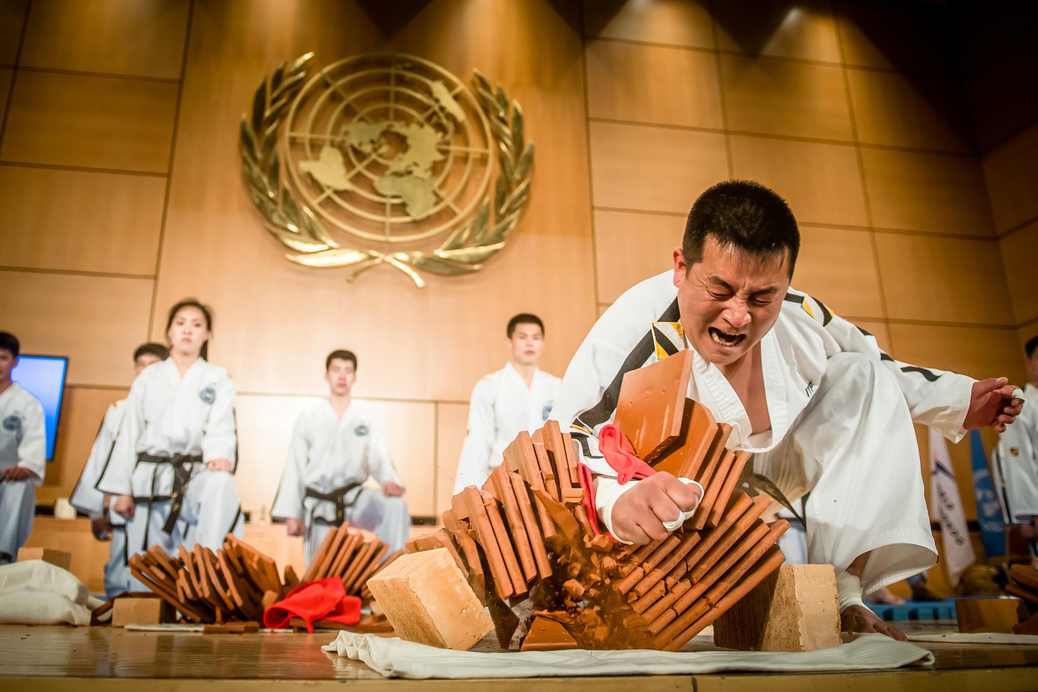 The United Nations Geneva Office welcomed World Taekwondo and the International Taekwondo Federation for a joint demonstration ©World Taekwondo