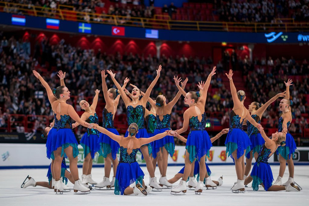 Team Marigold Ice Unity, seeking to defend their ISU World Synchronized Skating title on home ice in Helsinki, trail to Russia's Team Paradise at the halfway point ©Getty Images