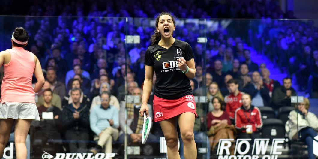 Egypt's world number one Raneem El Welily celebrates reaching the DPD Open squash final in Eindhoven ©PSA