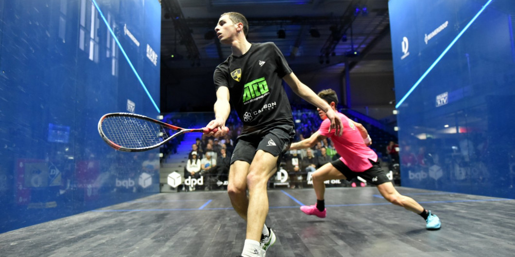 Egypt's world squash champion Ali Farag en route to victory in the semi-final of the DPD Open in Eindhoven against Germany's Simon  Rösner ©PSA
