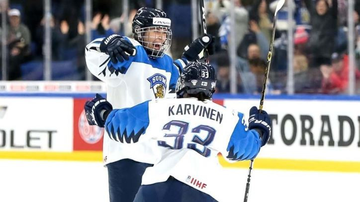 Finland's women earn historic win over Canada to reach first global ice hockey final against United States in Espoo