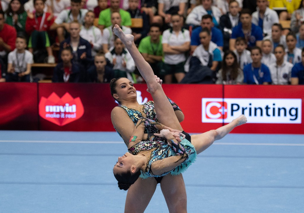 Portugal's Rita Ferreira and Ana Teixeira maintained their lead in the women's pairs event at the FIG Acrobatic World Cup in Puurs ©Facebook