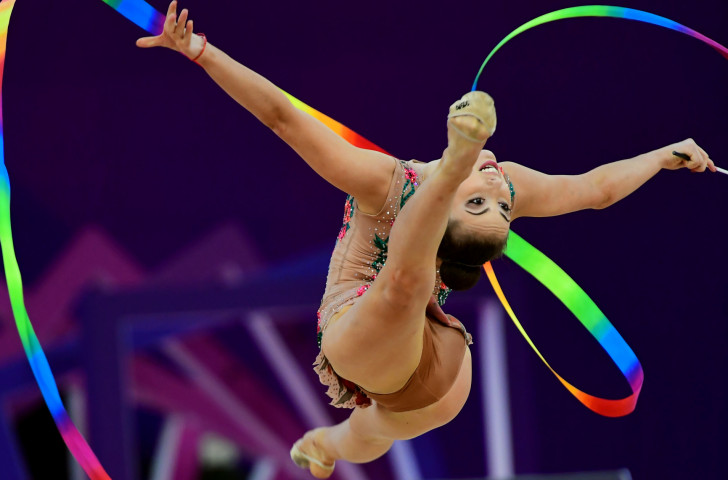 Katrin Taseva moved up to a medal challenge for Bulgaria in the FIG Rhythmic Gymnastics World Cup at Sofia on a night when her team-mate Neviana Vladinova dropped down the competition ©Getty Images