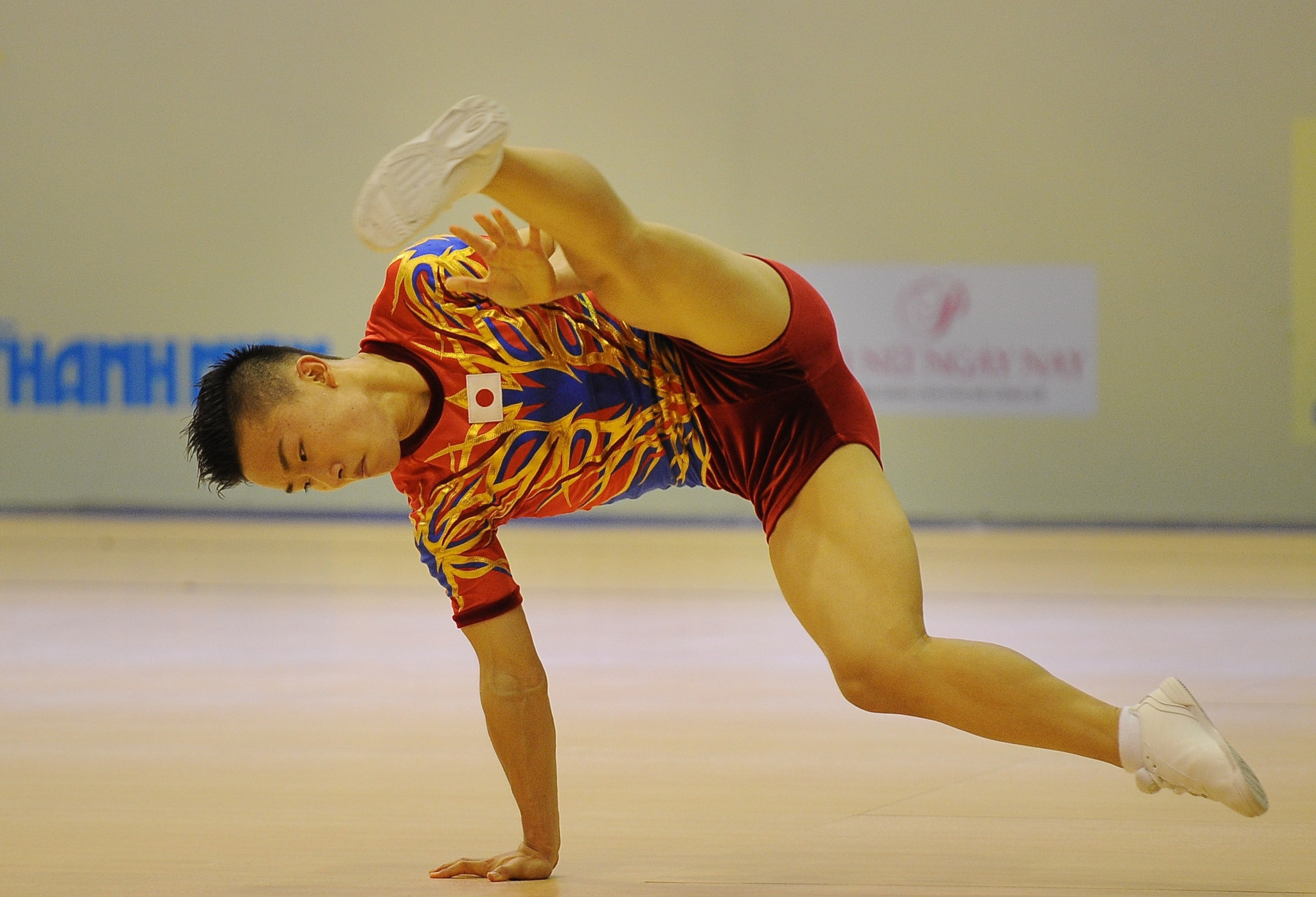 Home favourite Mizuki Saito of Japan led men's qualifying at the FIG Aerobic World Cup ©Getty Images