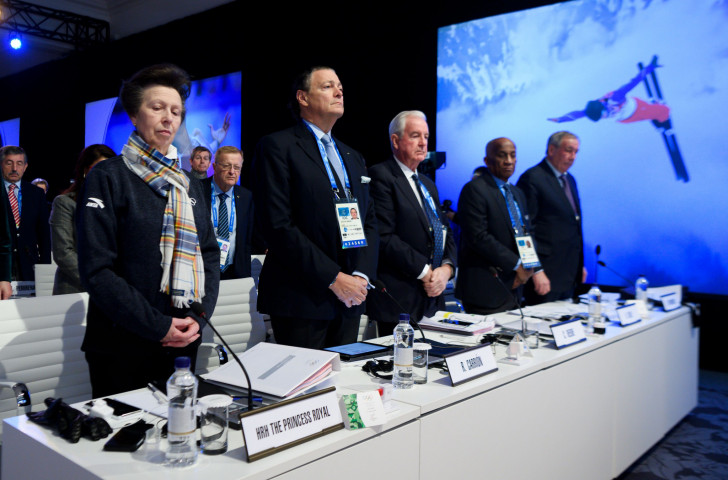 Sir Austin Sealy, second right, pictured with fellow International Olympic Committee  members, from left, Princess Anne, Puerto Rico's Richard Carrion, Britain's Craig Reedie and Russia's Shamil Tarpischev during an IOC session prior the Pyeongchang 2018 Winter Olympic Games ©Getty Images