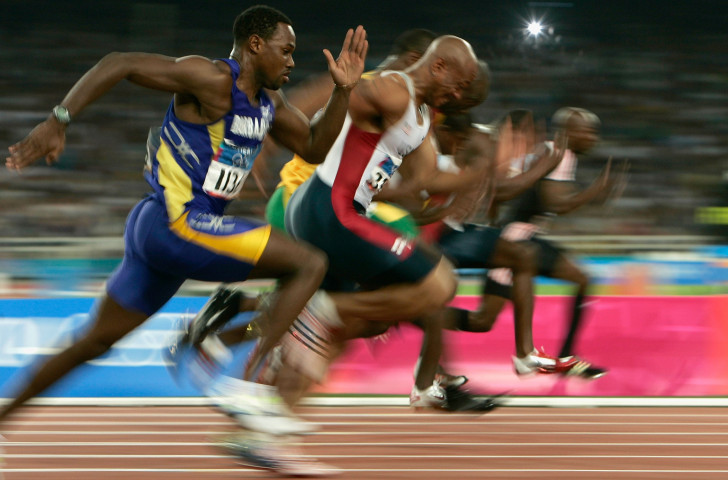 Obadele Thompson of Barbados, pictured nearest camera in the 2004 Athens Olympics 100m final, was one of a long and illustrious line of Austin Sealy Award winners at the CARIFTA Games ©Getty Images