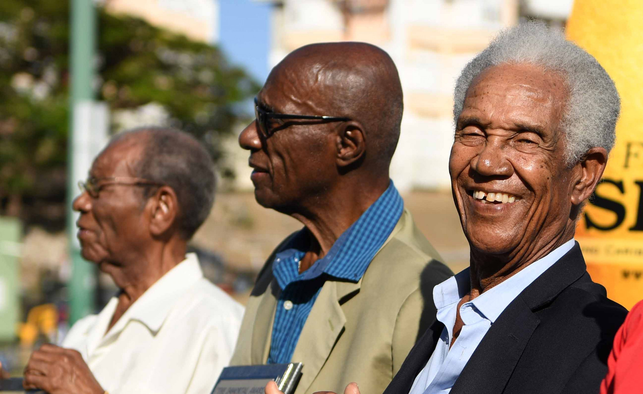 Sir Wes Hall, pictured, centre, with Sir Everton Weekes and Sir Garfield Sobers this year during a one-day tour match between England and The University of West Indies Vice Chancellor's XI in Bridgetown, Barbados. When Hall was Barbados's Sports Minister in 1988 he took a call from Indian PM Rajiv Gandhi which effectively ended Barbados plans to bid for the 1998 Commonwealth Games ©Getty Images
