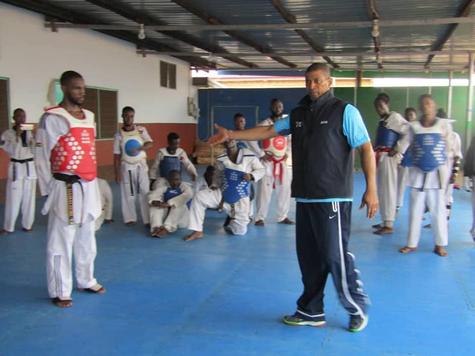 Ivory Coast's Patrice Remark coached the participants on the course ©Ghana Taekwondo Federation