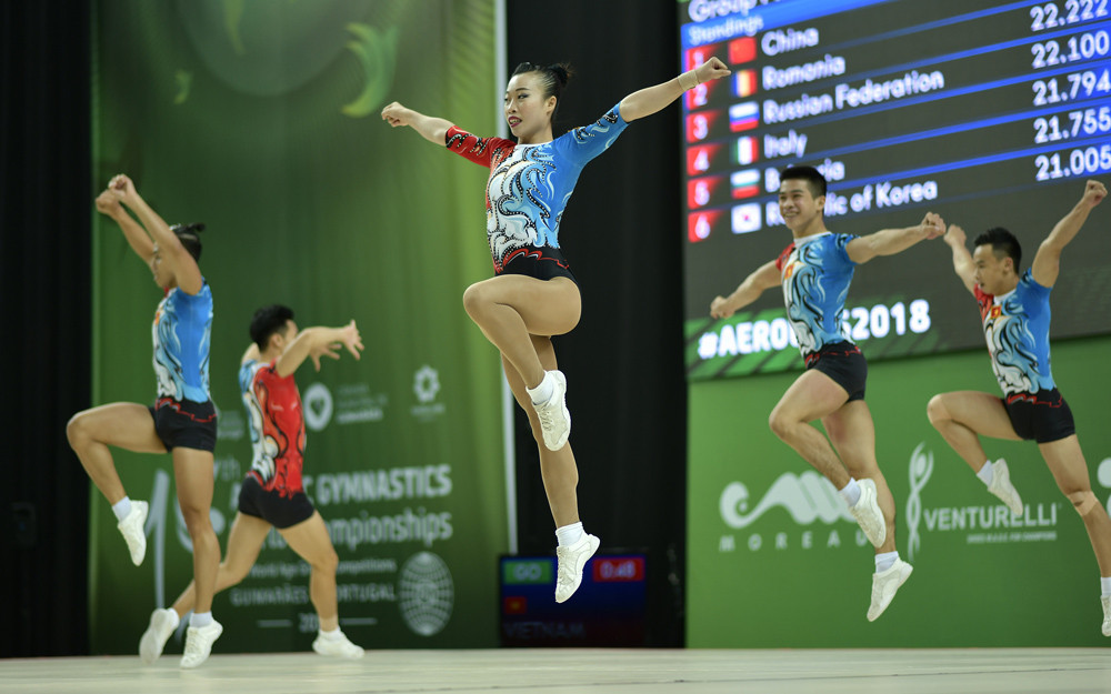 Vietnam took gold in the groups event at the FIG Aerobic World Cup in Tokyo ©FIG