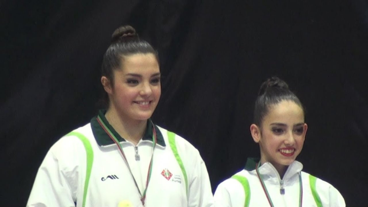 Portugal's Rita Ferreira and Ana Teixeira won the women's pairs FIG Acrobatic World Cup in Puurs ©FIG
