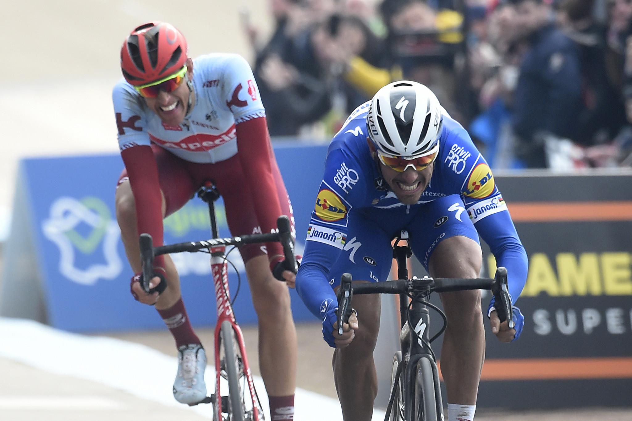 Gilbert out sprints Politt to win Paris-Roubaix for first time