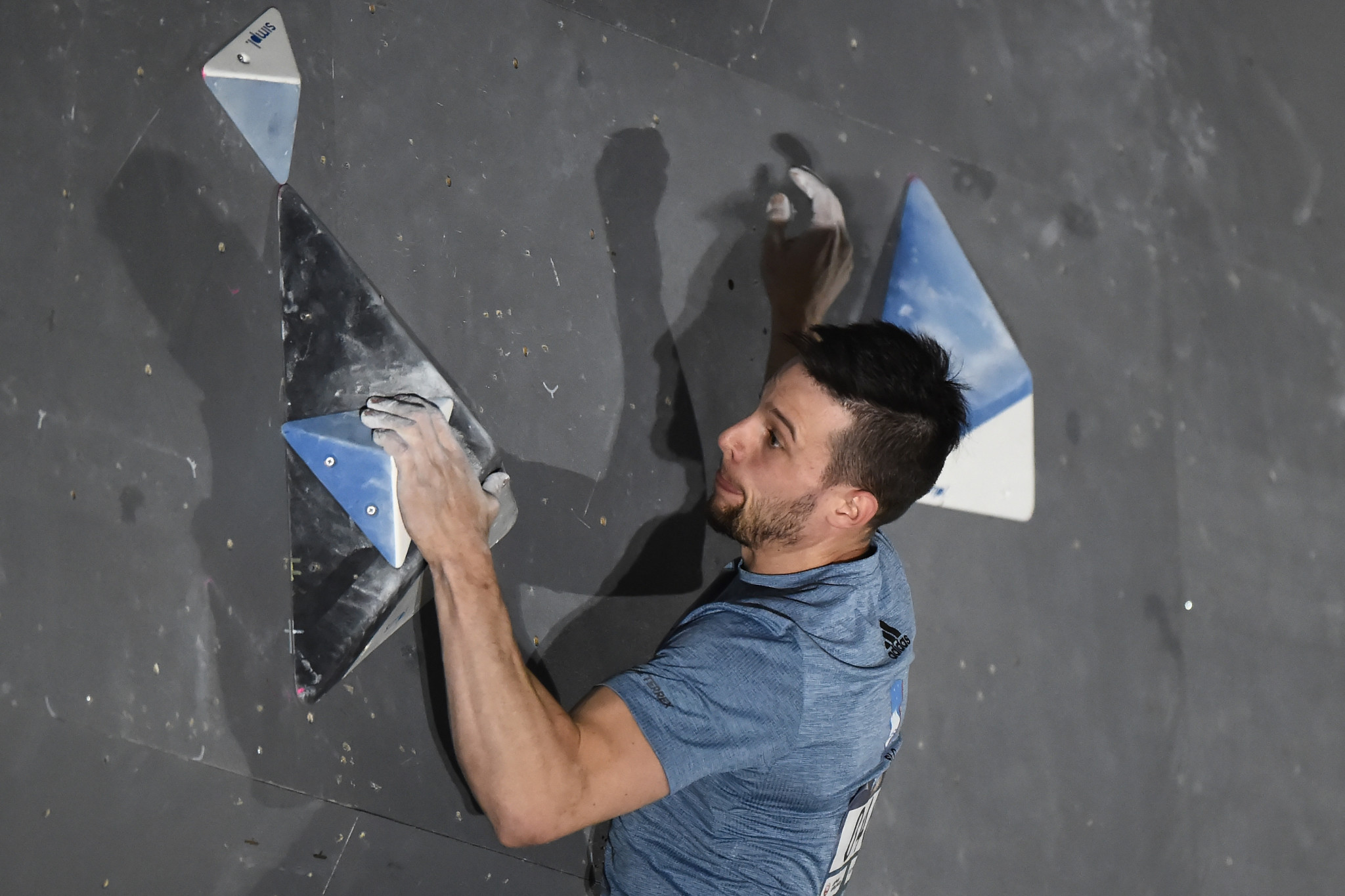 Jernej Kruder of Slovenia won the men's bouldering event at the IFSC Climbing World Cup in Moscow ©Getty Images