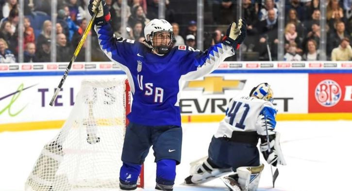 Annie Pankowski scored the decisive goals that earned the United States a fifth women's world ice hockey title in Finland tonight ©IIHF
