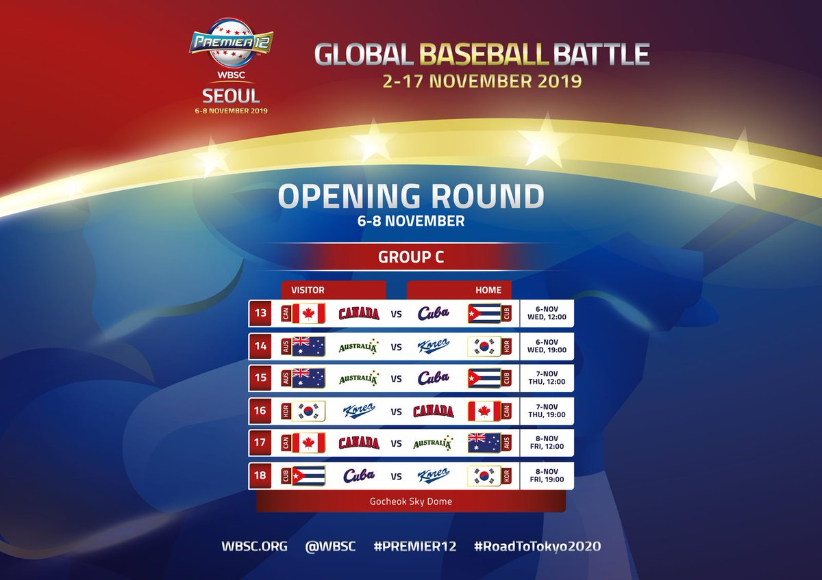 WBSC reveal Premier 12 Group C schedule in Seoul
