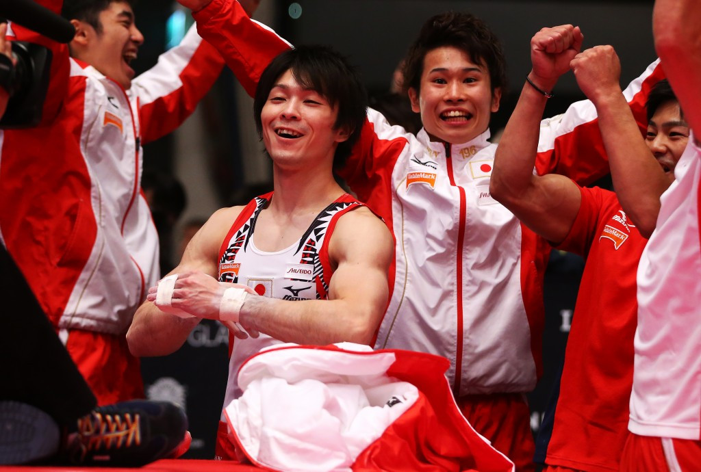 Uchimura secures men's team gold for Japan despite fall on final apparatus at Artistic Gymnastics World Championships