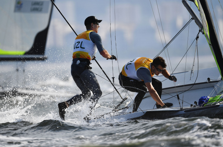 New Zealand's Rio 2016 champions Peter Burling and Blair Tuke have made a conservative start at the Sailing World Cup in Genoa after a three-year absence from 49er racing ©Getty Images
