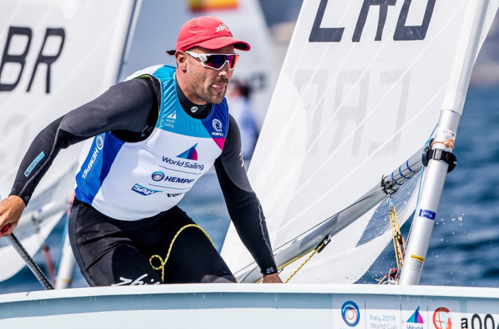 Croatia's  Tonči Stipanovićc picked up one of the two laser class wins at the Sailing World Cup in Genoa today ©Getty Images