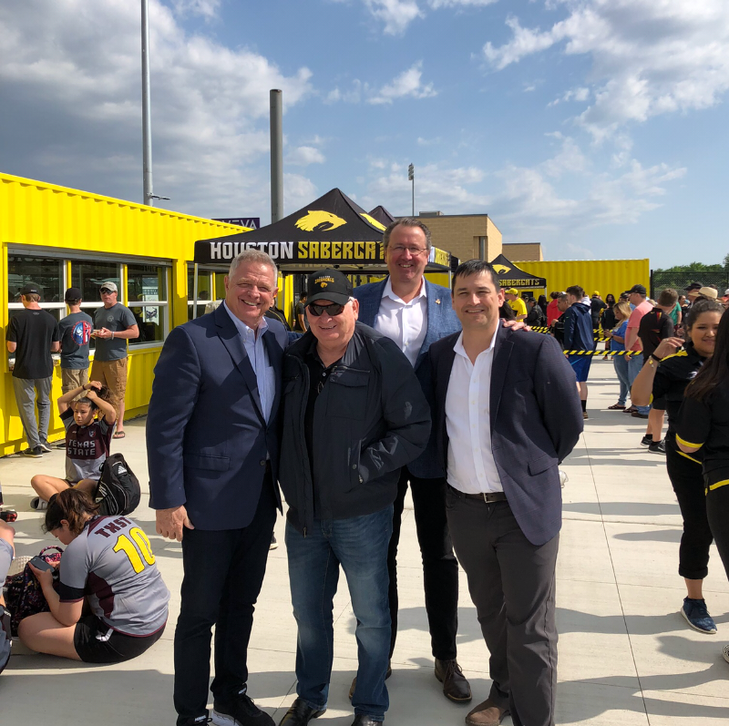 MLR Commissioner Dean Howes, Houston SaberCats director of team and league affairs Jeremy Turner, USA Rugby chief executive Ross Young and MLR deputy commissioner Nic Benson were pictured last weekend at Houston SaberCats' new AVEVA Stadium ©MLR