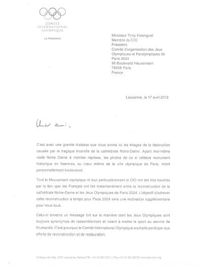 IOC President Thomas Bach made the pledge in a letter to Paris 2024 counterpart Tony Estanguet ©IOC