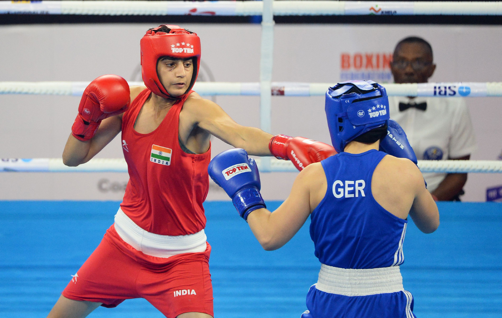 World Championships silver medallist Sonia Chahal of India progressed to the quarter-finals of the women's featherweight division ©Getty Images