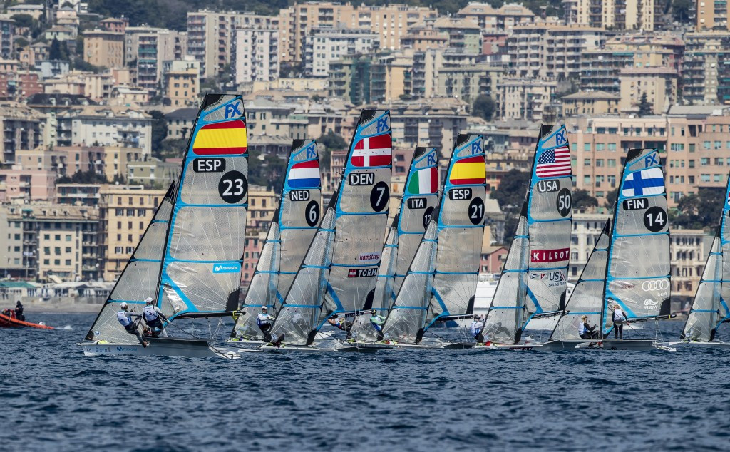 Italian duo Carlotta Omari and Matilda Distefano took the lead in the 49erFX event at the Sailing World Cup in Genoa ©World Sailing