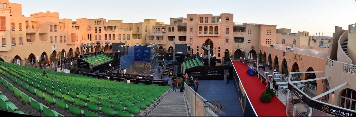 Today's action took place at the CI Capital Glass Court Arena in El Gouna ©ElGounaSquash