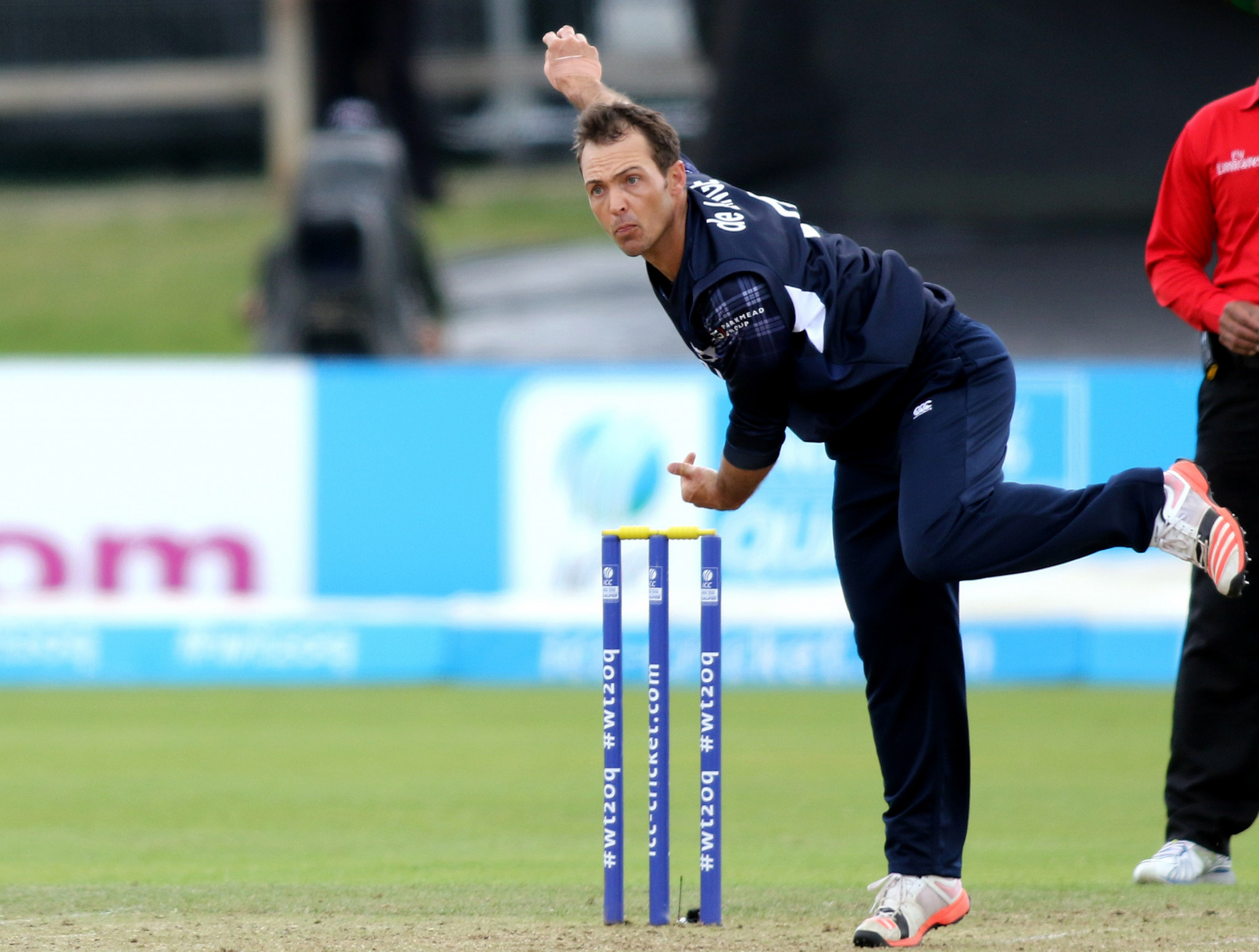 Con De Lange scored the winning runs in Scotland's maiden win over a full ICC member ©Getty Images