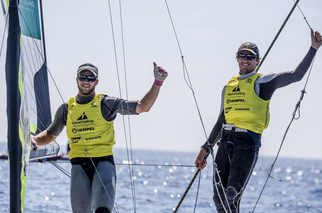 Australia's David and Lachy Gilmour won the 49er medal race at the Sailing World Cup in Genoa ©World Sailing