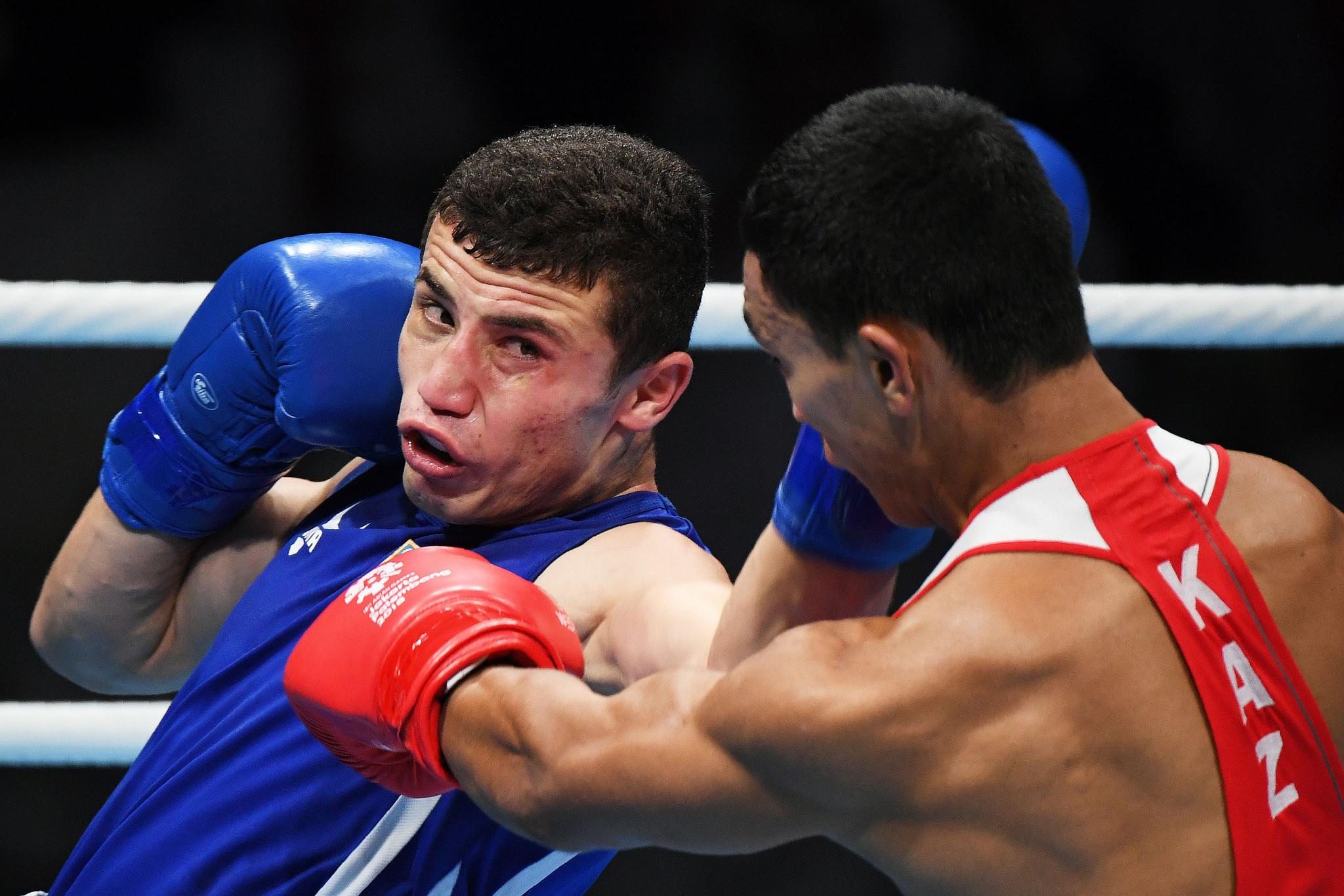 Israil Madrimov of Uzbekistan began the defence of his middleweight title with a comprehensive victory ©Getty Images