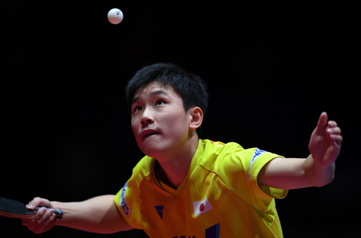 Japan's Tomokazu Harimoto, born to Chinese table tennis internationals, pictured en route to winning the ITTF World Tour Grand Finals last December - aged 15 ©Getty Images
