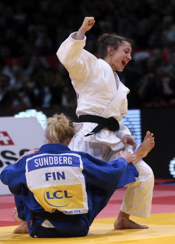 Majlinda Kelmendi of Kosovo, white, will be looking to maintain her unbeaten streak in Abu Dhabi