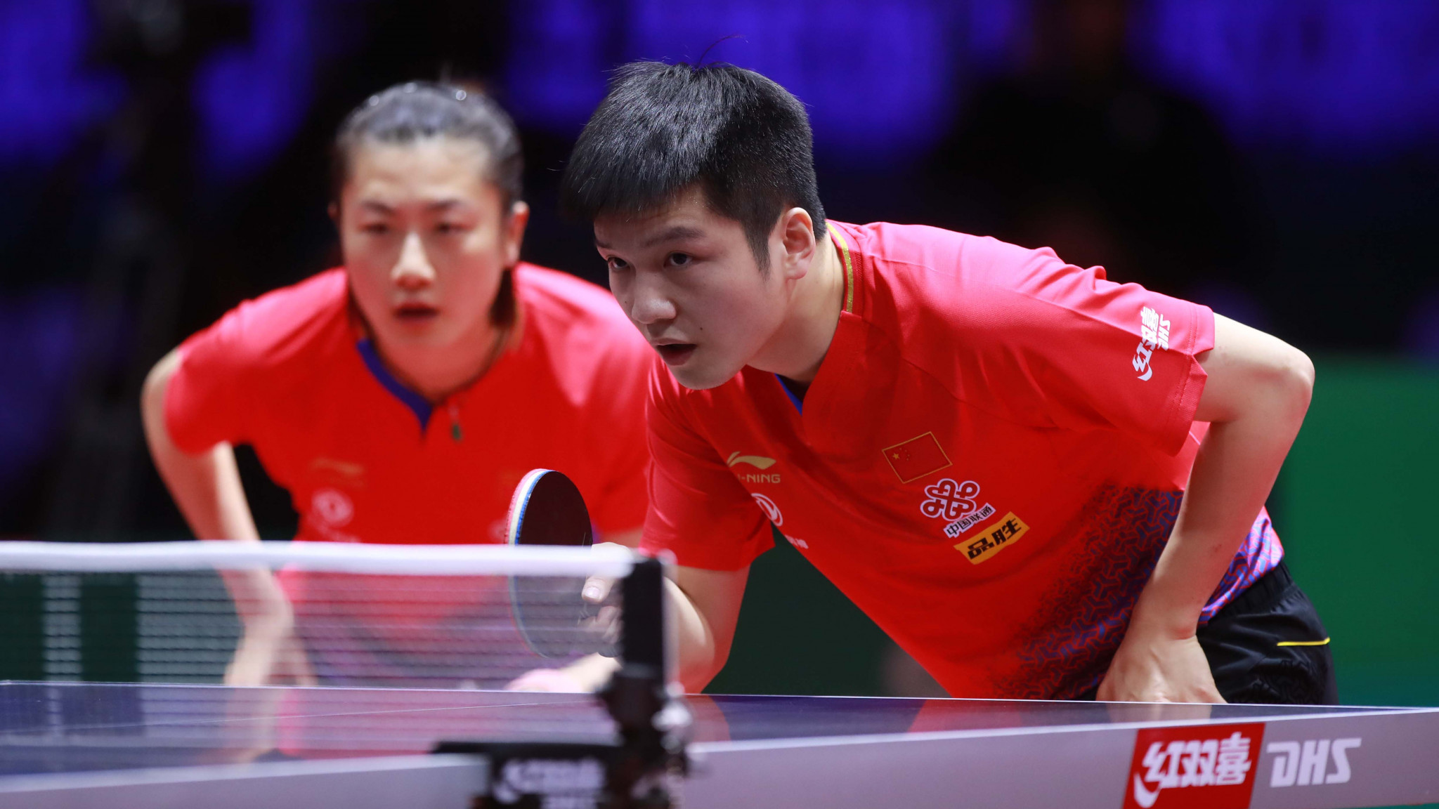 Top singles seeds Fan Zhendong and Ding Ning won their opening mixed doubles contest on the first day of the ITTF World Championships in Budapest ©ITTF