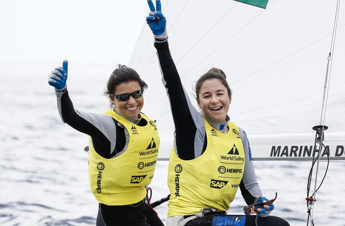 Brazil's Fernanda Oliveira and Ana Luiza Barbachan won the women's 470 at the Sailing World Cup in Genoa ©World Sailing
