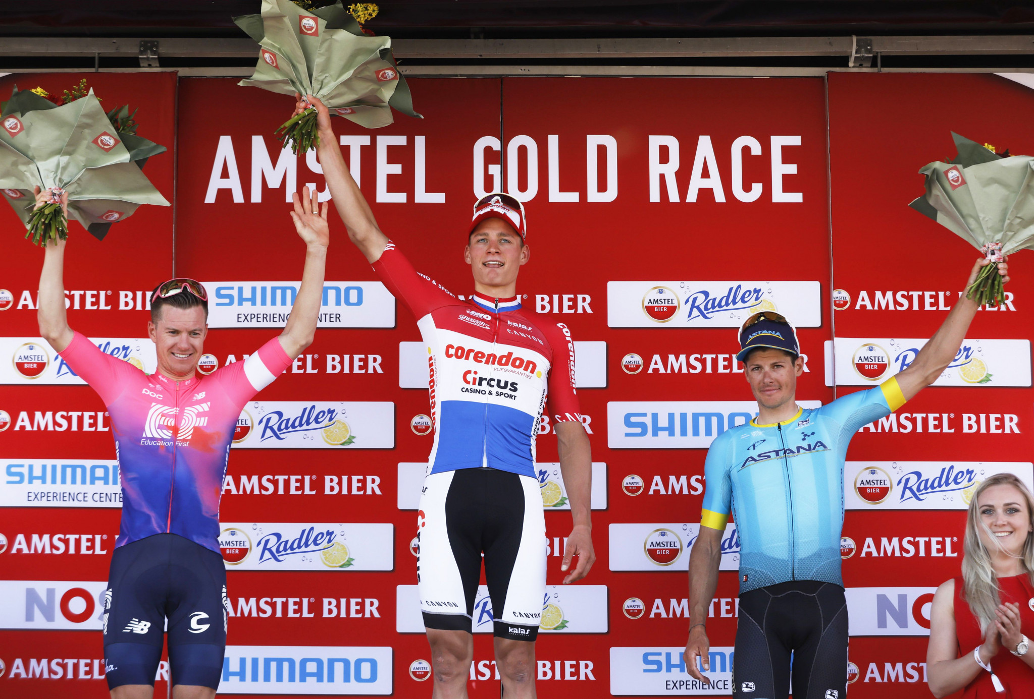 Mathieu Van der Poel celebrated a superb victory at the Amstel Gold Race ©Getty Images