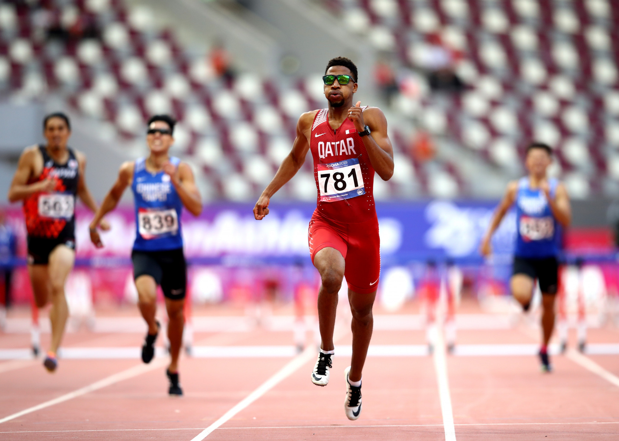 Qatari Abderrahman Samba's dominant men's 400 metres hurdles victory highlighted the second day of action at the Asian Athletics Championships in Doha ©Getty Images