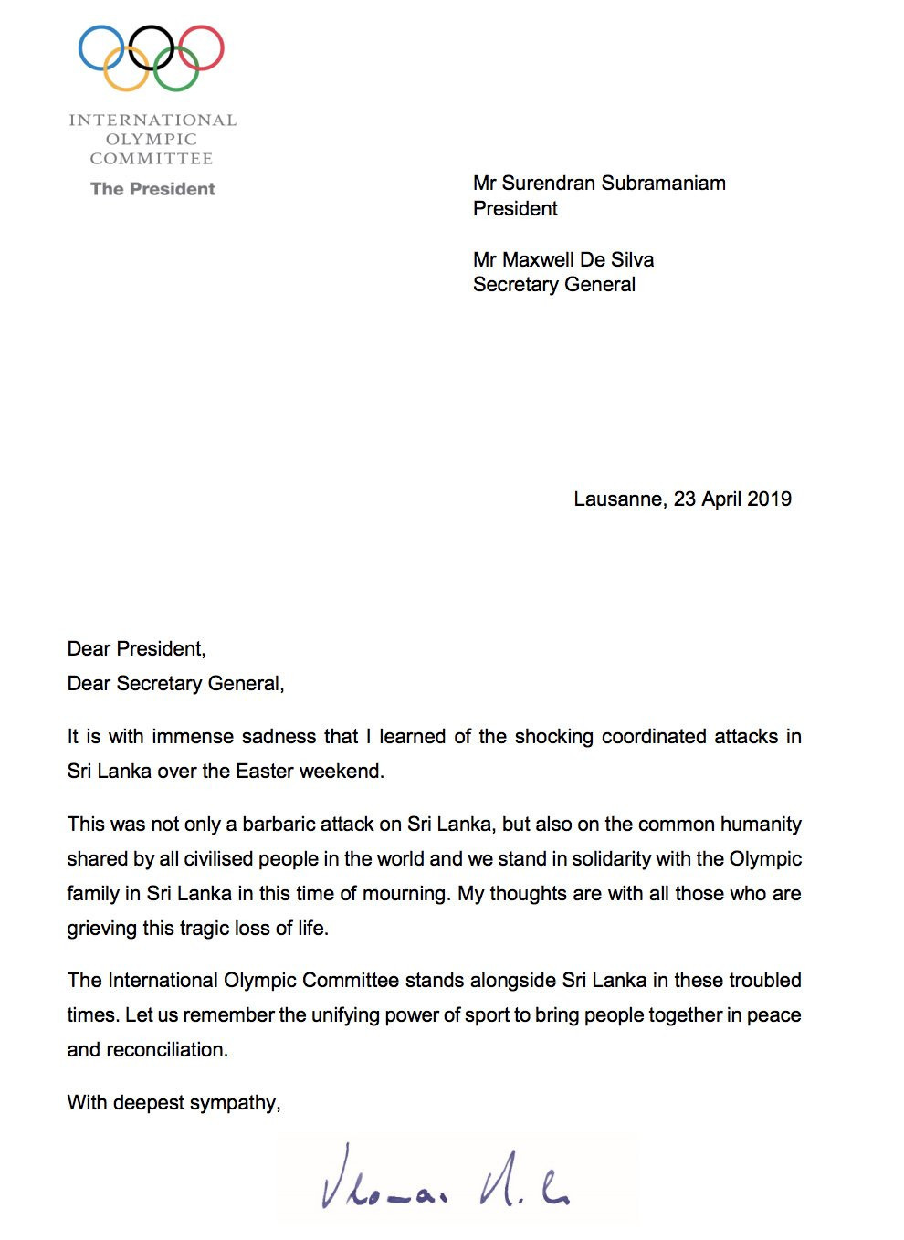 IOC President Thomas Bach has written a letter to the NOC of Sri Lanka to express the organisation's sympathy ©IOC