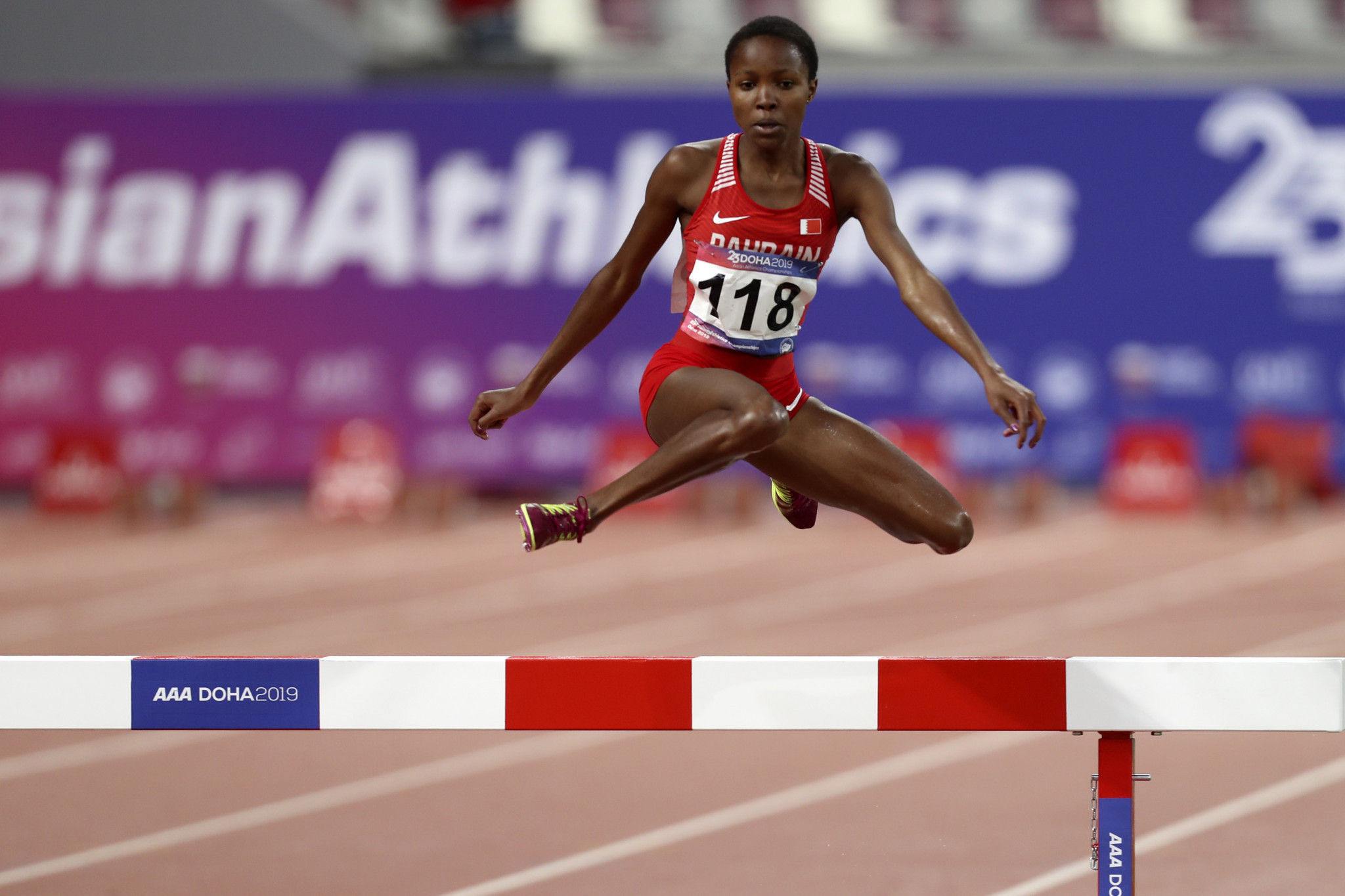 Bahrain's Winfred Mutile Yavi won the women's 3,000 metres steeplechase title on day three of the Asian Athletics Championships in Doha ©Getty Images