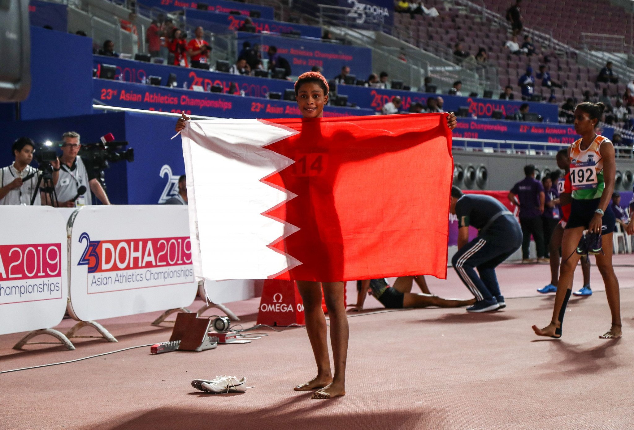 Bahrain's Salwa Naser took her fourth gold on the final day of the Asian Athletics Championships in Doha ©Getty Images